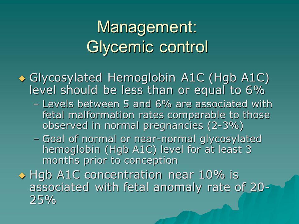 Management: Glycemic control