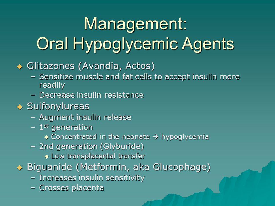Management: Oral Hypoglycemic Agents