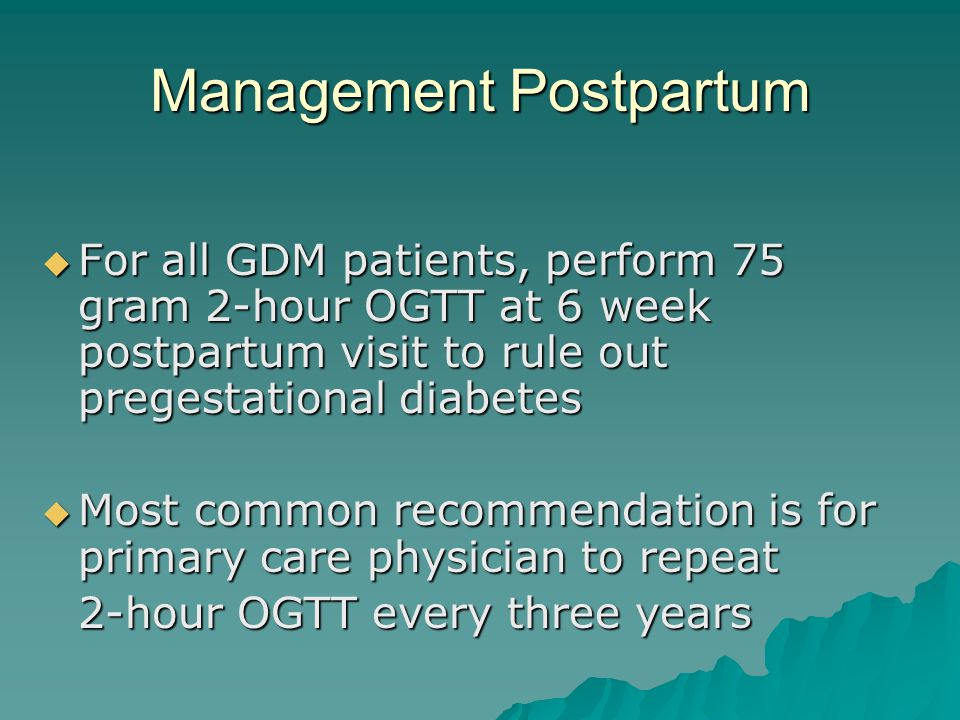 Management Postpartum