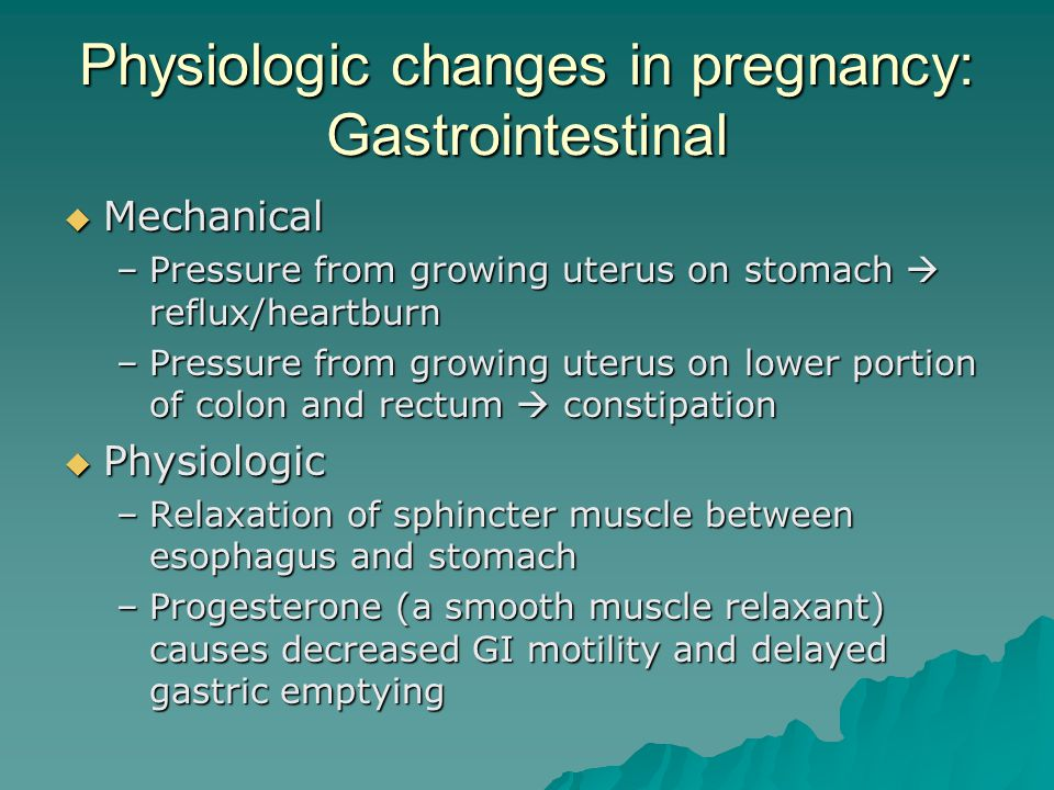 Physiologic changes in pregnancy: Gastrointestinal
