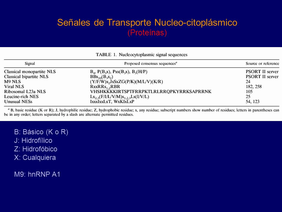Señales de Transporte Nucleo-citoplásmico