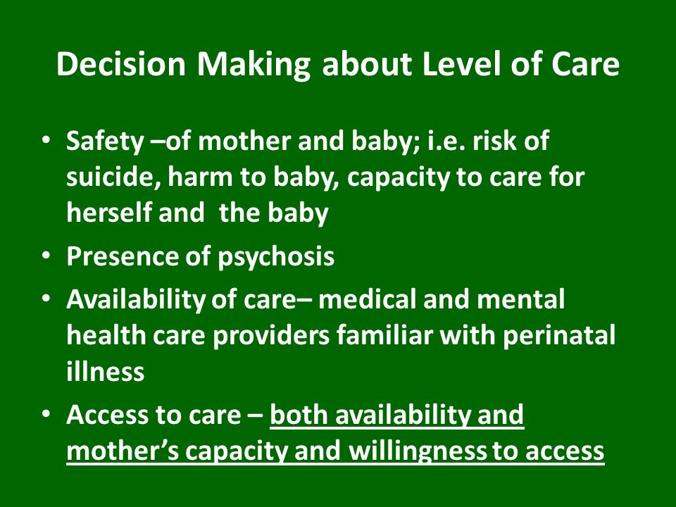 Decision Making about Level of Care