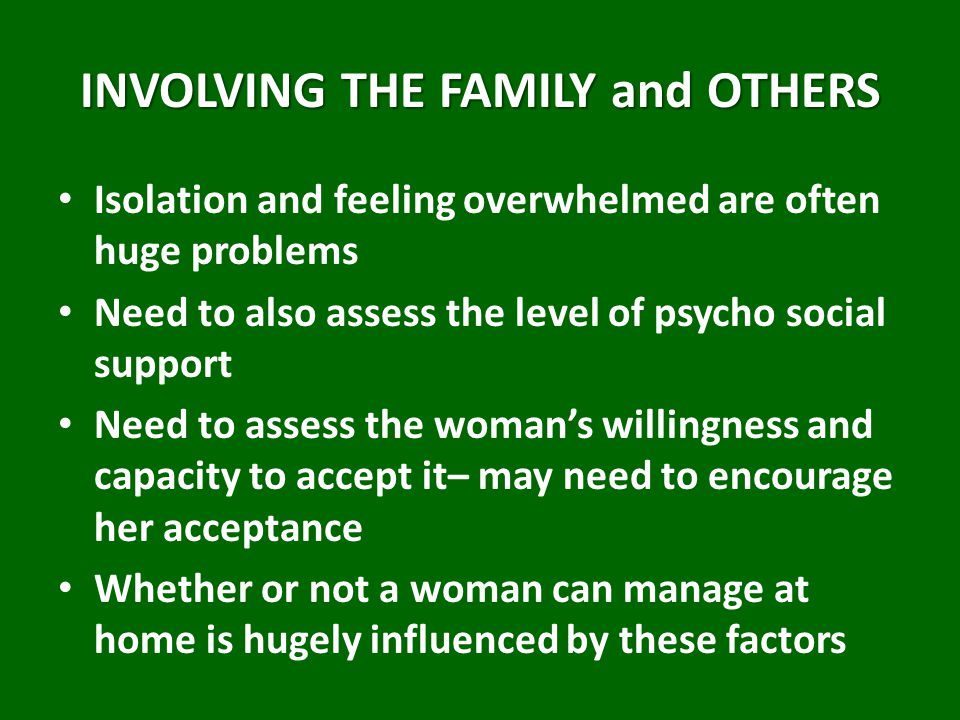 INVOLVING THE FAMILY and OTHERS