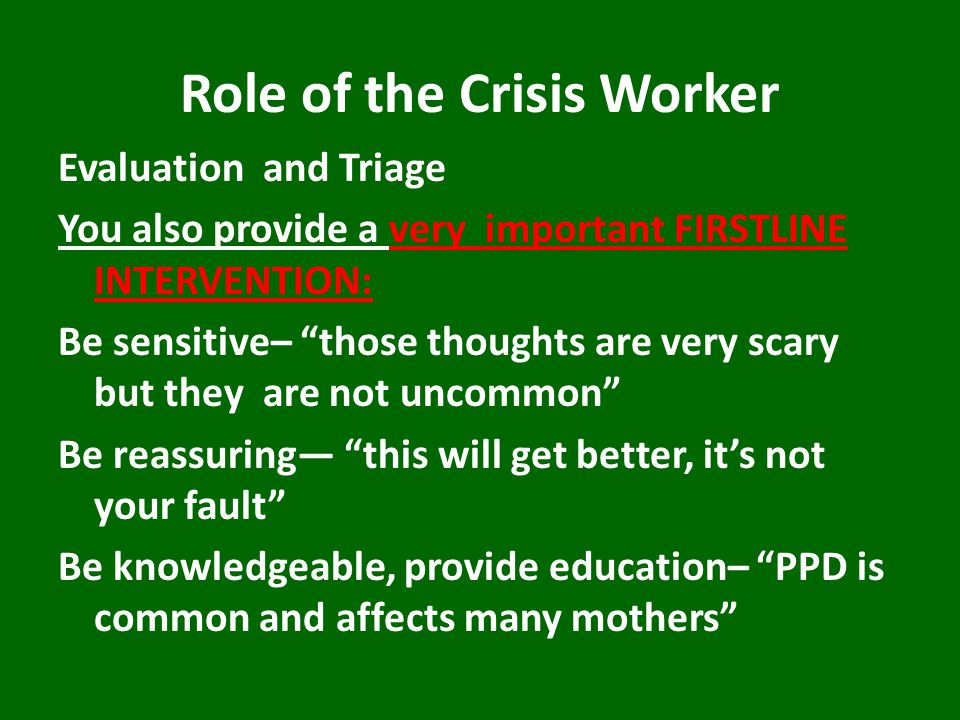 Role of the Crisis Worker