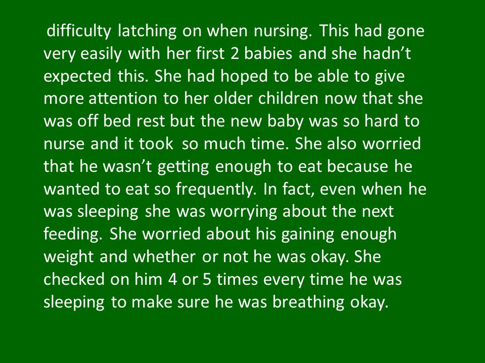 difficulty latching on when nursing