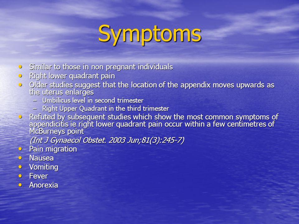 Symptoms Similar to those in non pregnant individuals