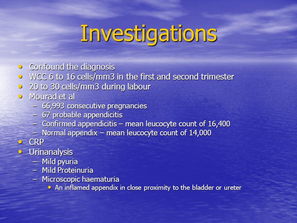 Investigations Confound the diagnosis