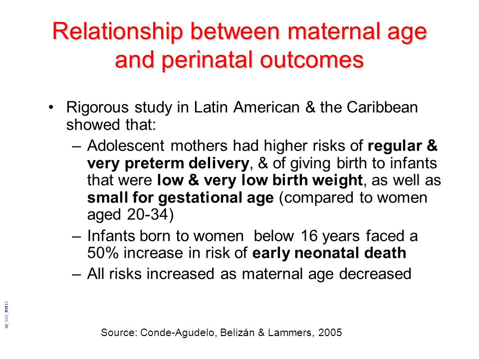 Relationship between maternal age and perinatal outcomes