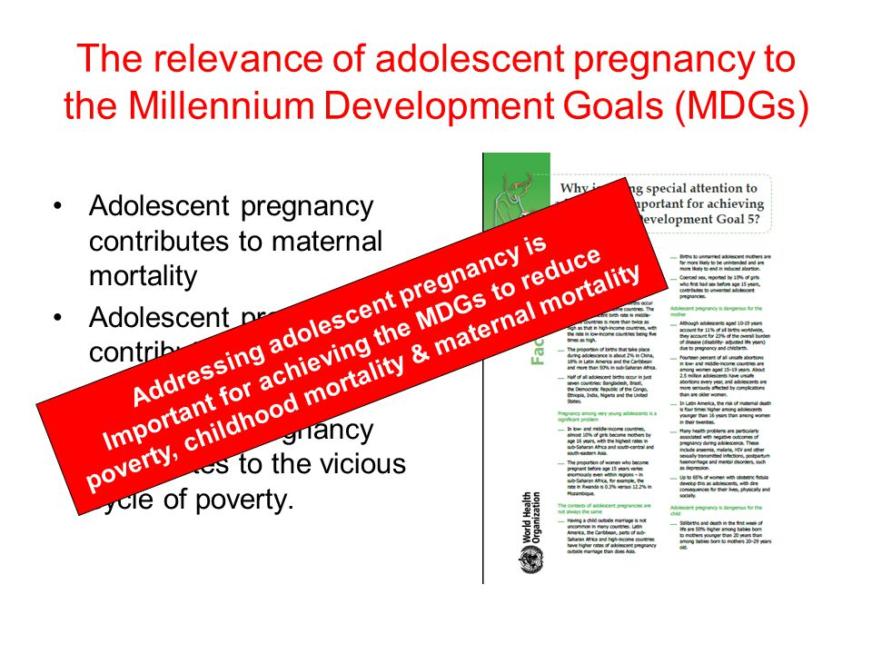 The relevance of adolescent pregnancy to the Millennium Development Goals (MDGs)