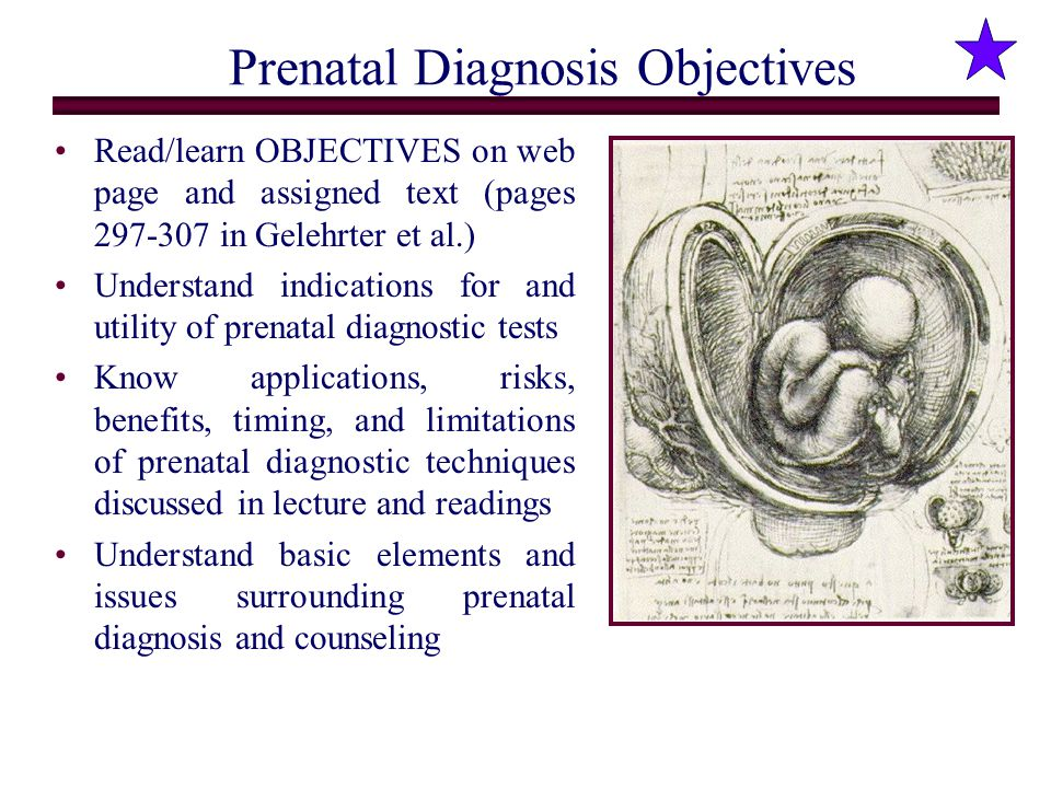 Prenatal Diagnosis Objectives