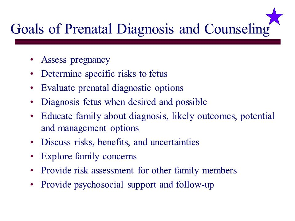 Goals of Prenatal Diagnosis and Counseling