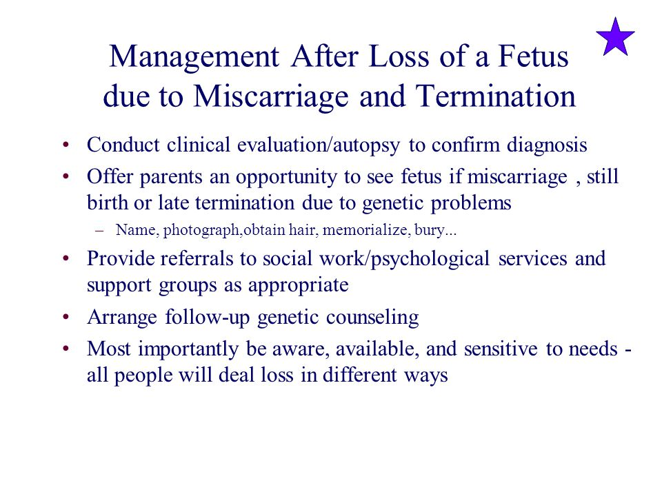 Management After Loss of a Fetus due to Miscarriage and Termination