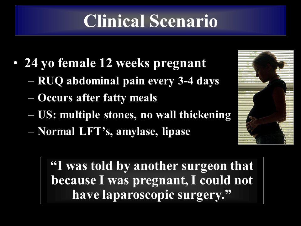 Clinical Scenario 24 yo female 12 weeks pregnant