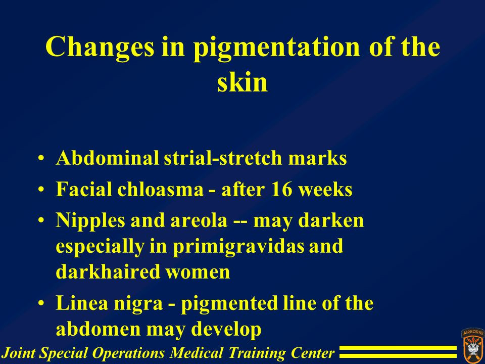 Changes in pigmentation of the skin