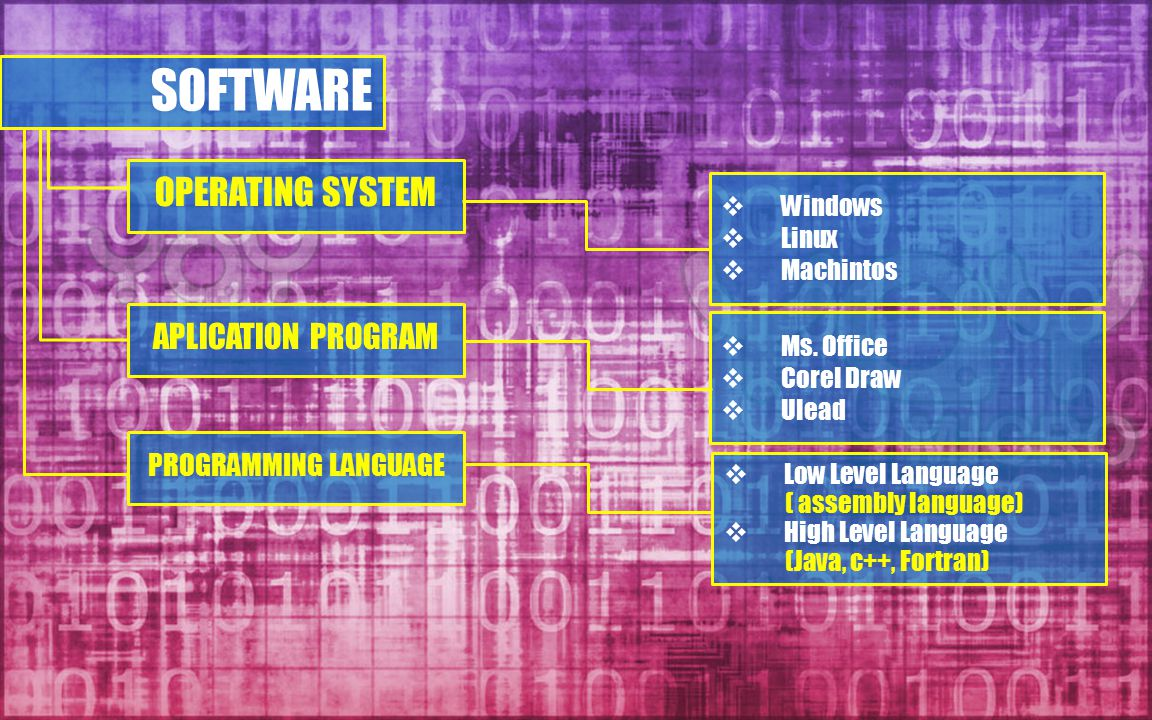 SOFTWARE OPERATING SYSTEM APLICATION PROGRAM PROGRAMMING LANGUAGE