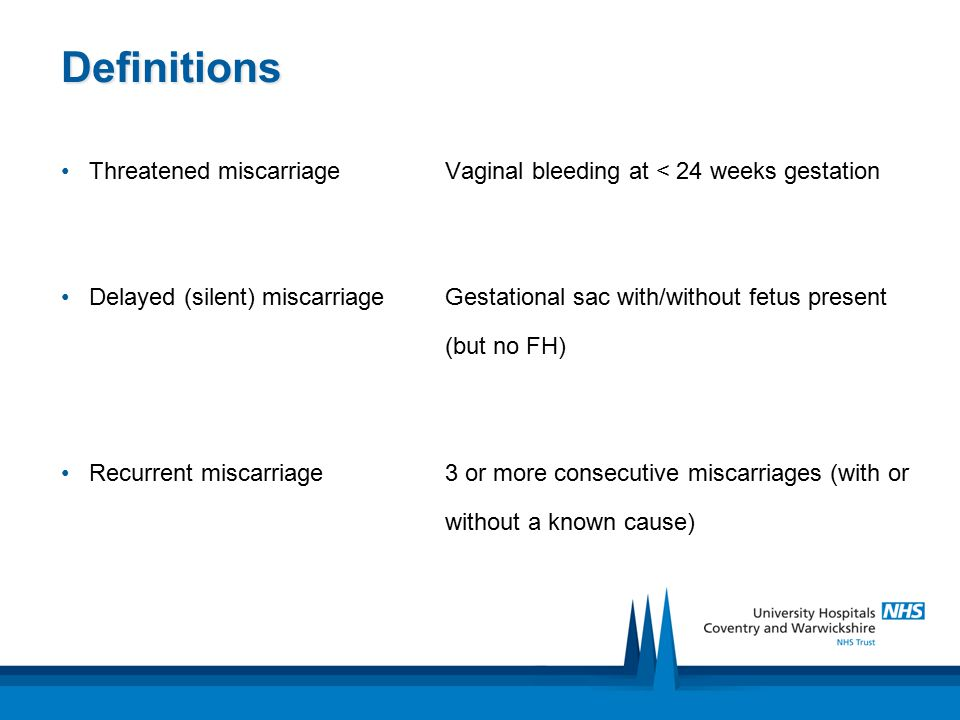 Definitions Threatened miscarriage Vaginal bleeding at < 24 weeks gestation.