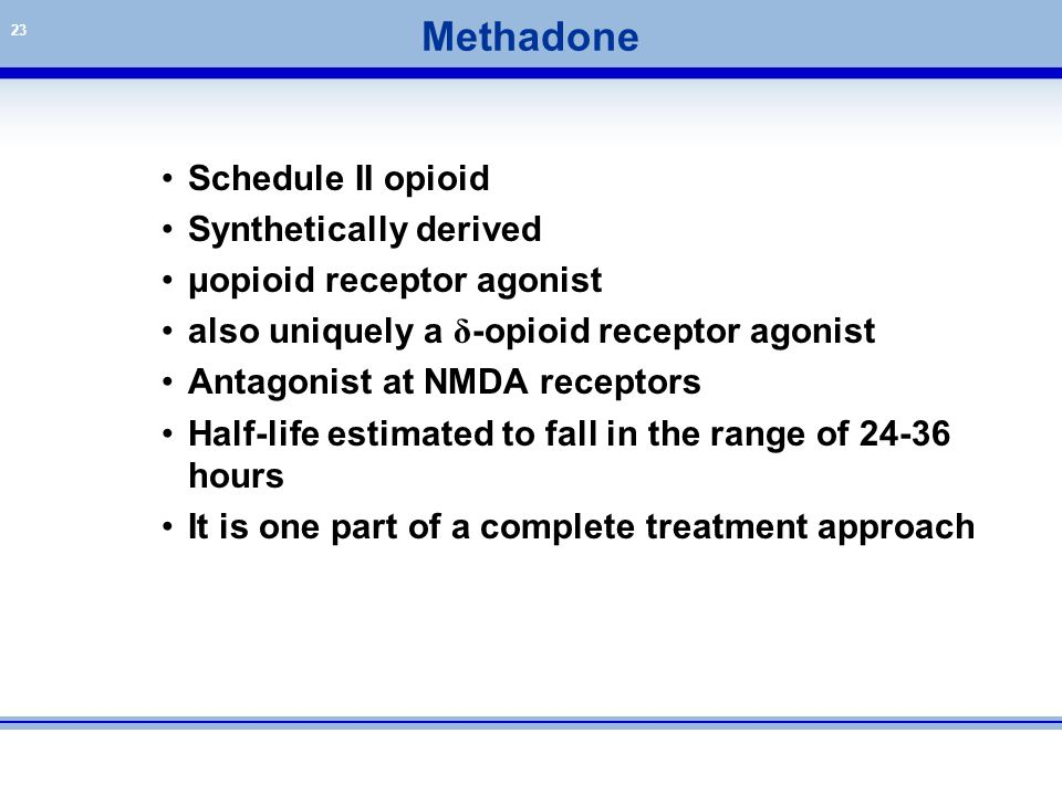 Methadone Schedule II opioid Synthetically derived