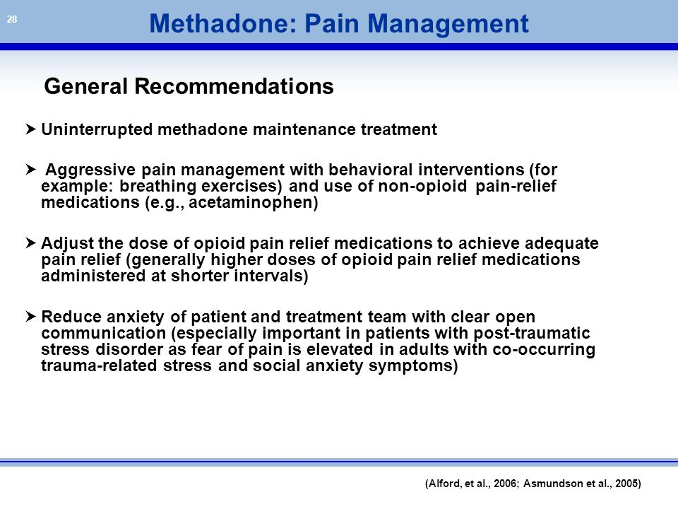 Methadone: Pain Management General Recommendations