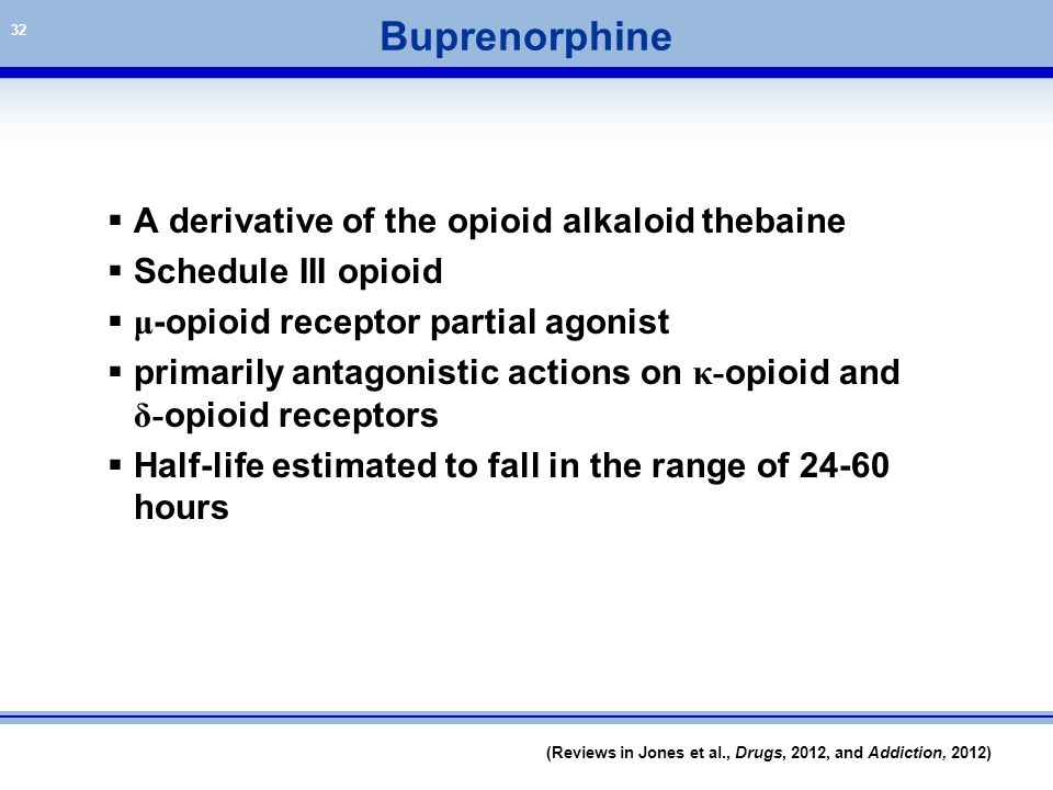 Buprenorphine A derivative of the opioid alkaloid thebaine