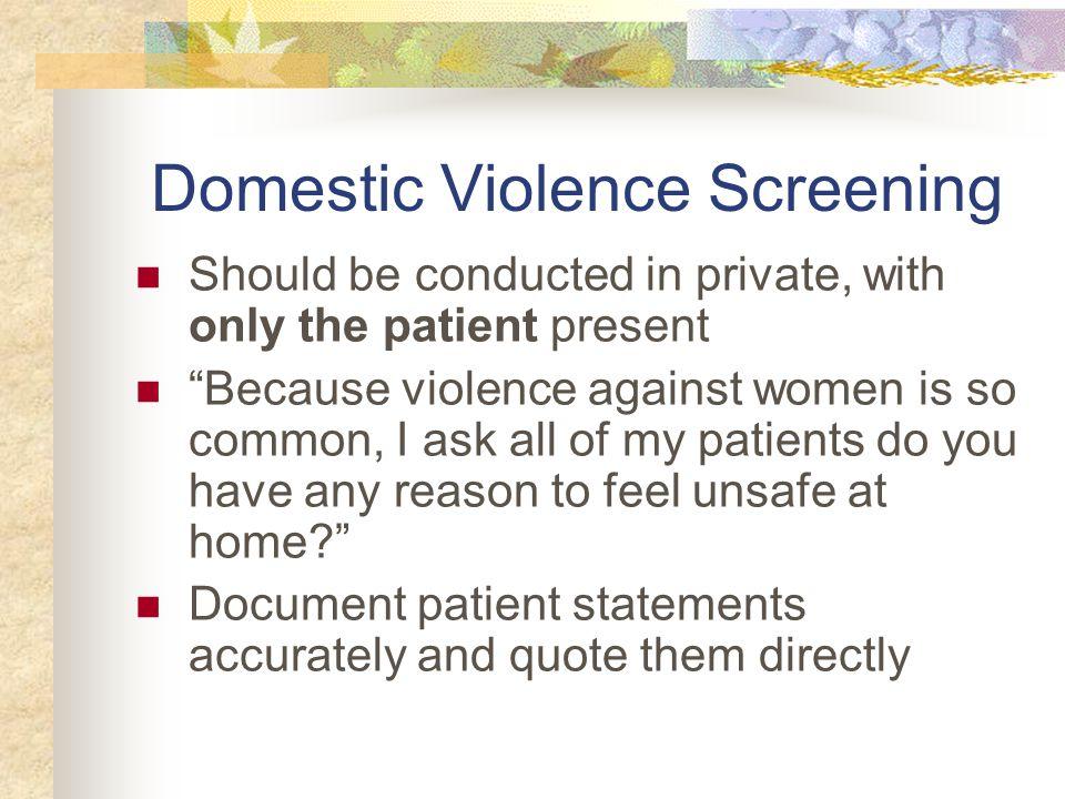 Domestic Violence Screening