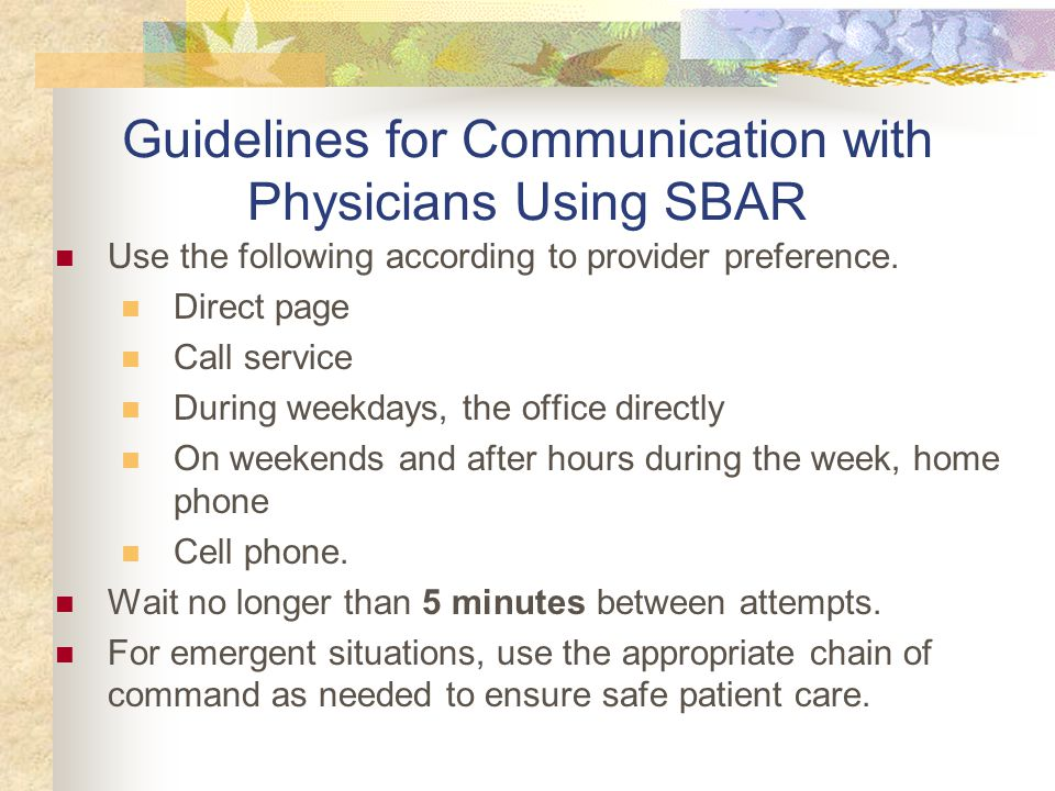 Guidelines for Communication with Physicians Using SBAR