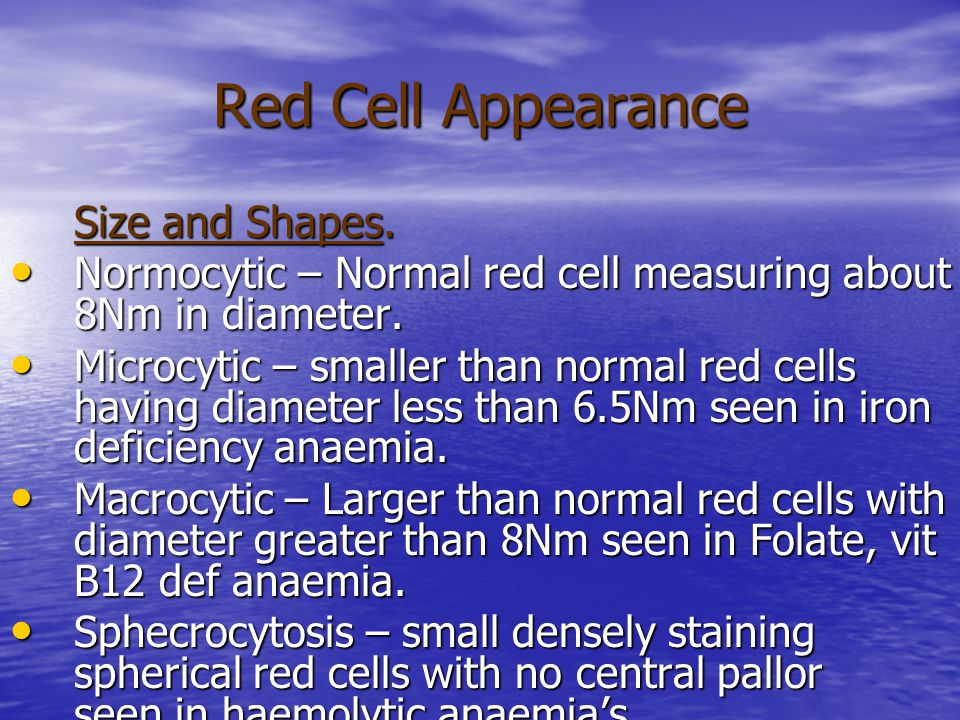 Red Cell Appearance Size and Shapes.