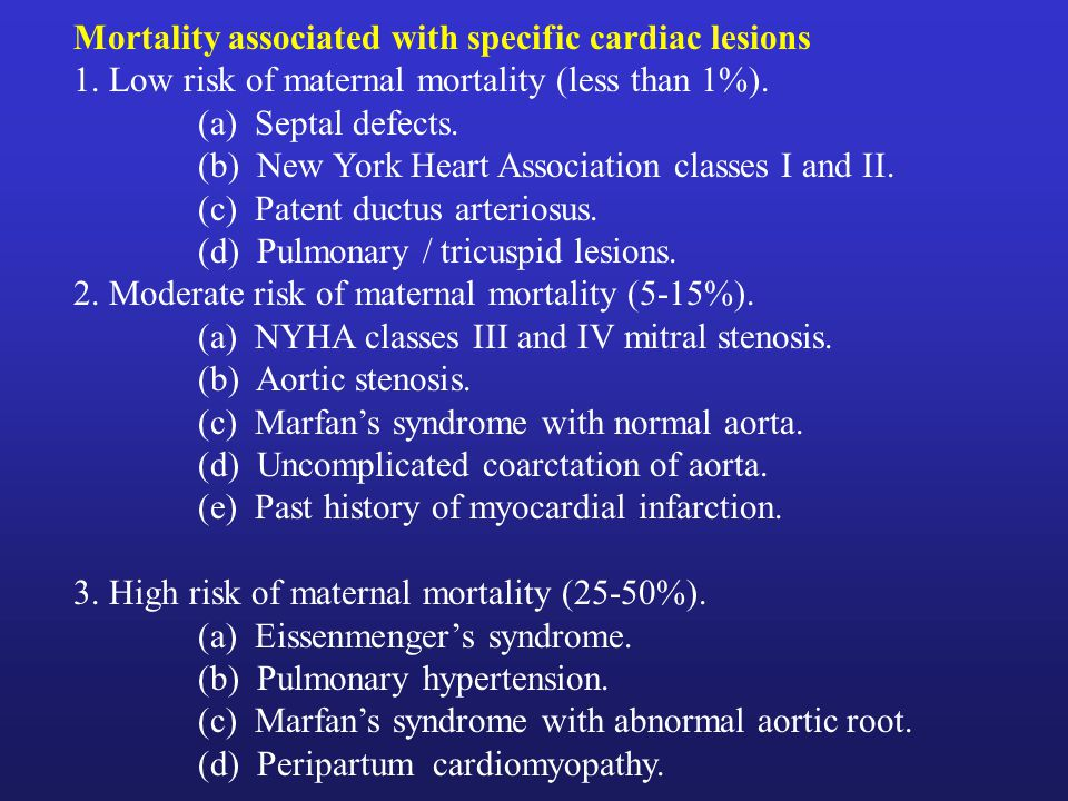Mortality associated with specific cardiac lesions