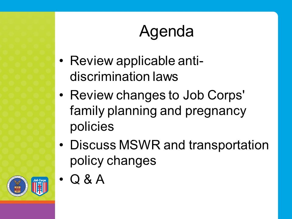 Agenda Review applicable anti-discrimination laws