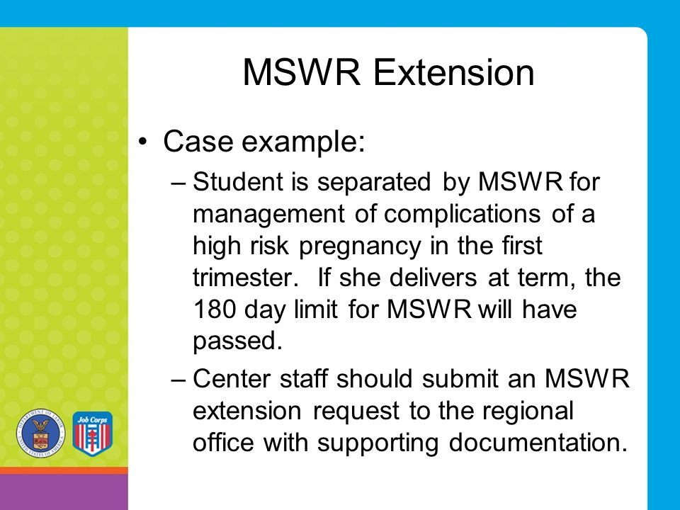 MSWR Extension Case example: