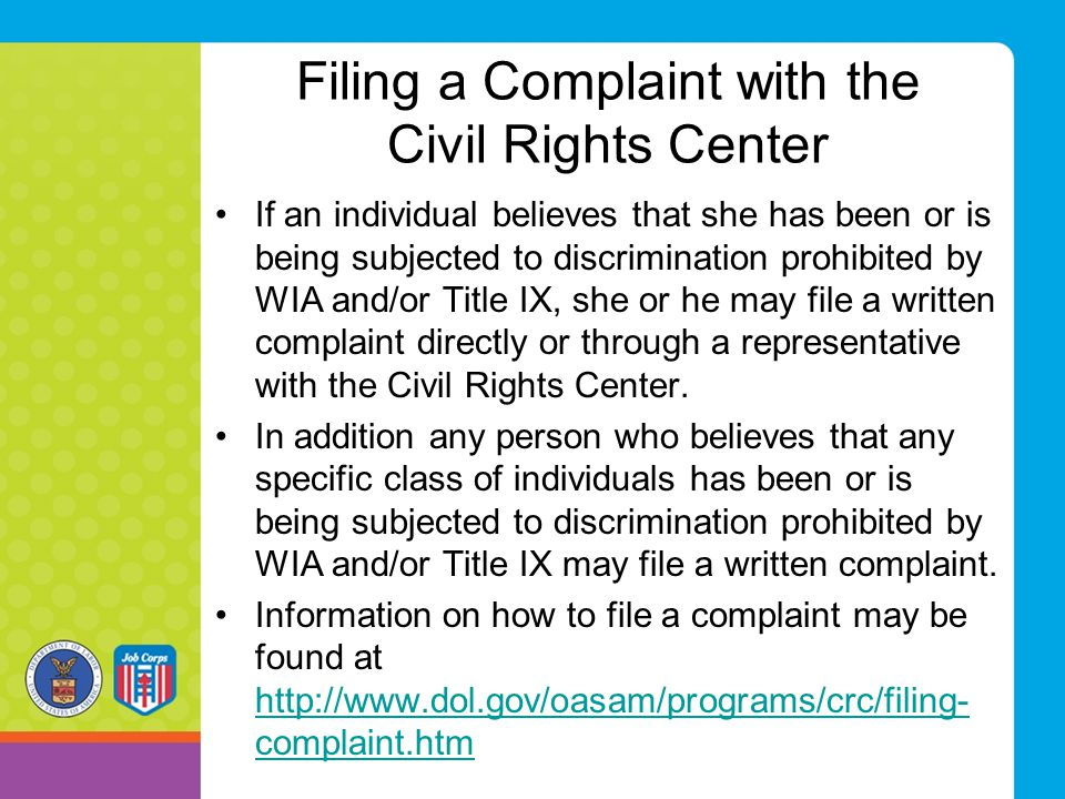 Filing a Complaint with the Civil Rights Center