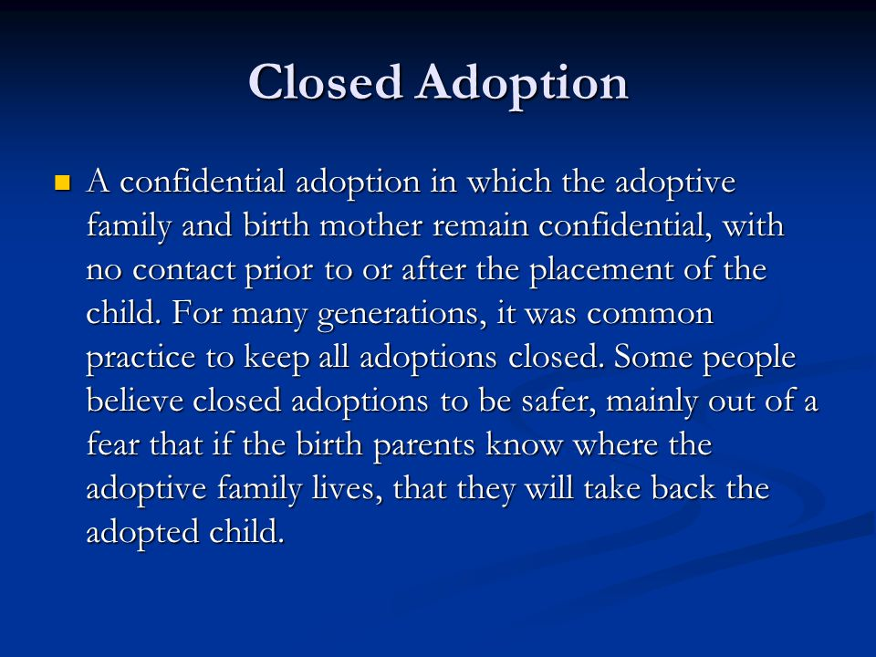 Closed Adoption