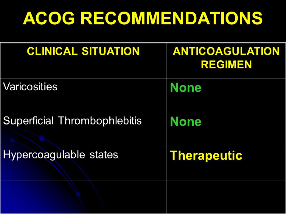 ANTICOAGULATION REGIMEN