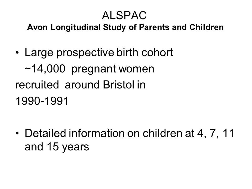 ALSPAC Avon Longitudinal Study of Parents and Children