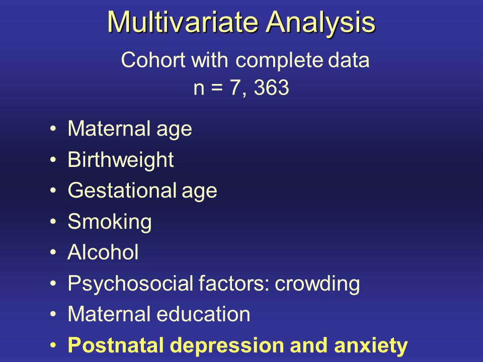 Multivariate Analysis Cohort with complete data n = 7, 363