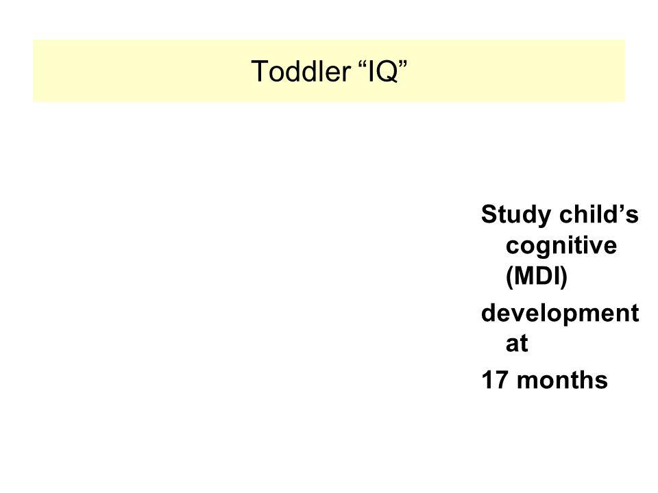 Toddler IQ Study child's cognitive (MDI) development at 17 months