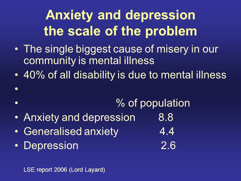 Anxiety and depression the scale of the problem