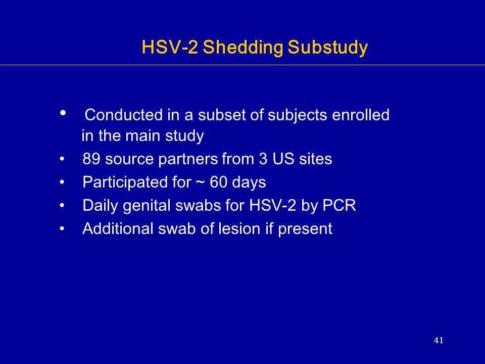 HSV-2 Shedding Substudy