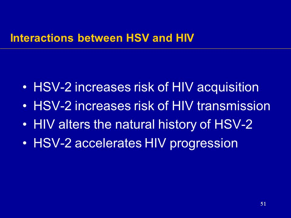Interactions between HSV and HIV