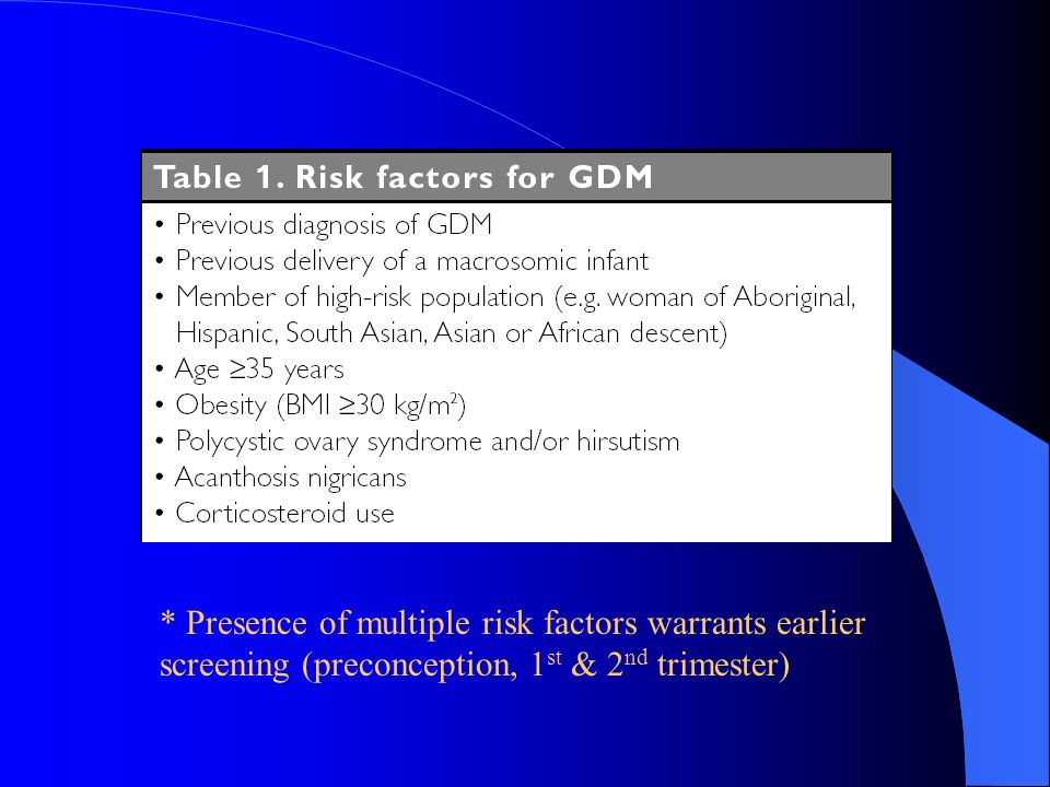* Presence of multiple risk factors warrants earlier screening (preconception, 1st & 2nd trimester)