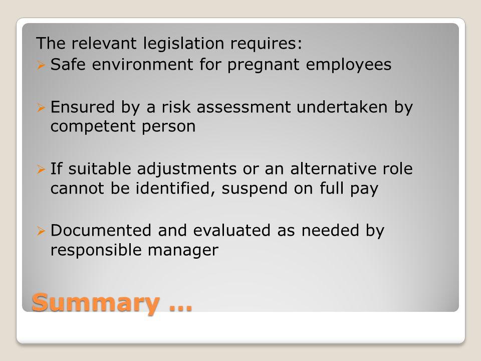 Summary … The relevant legislation requires: