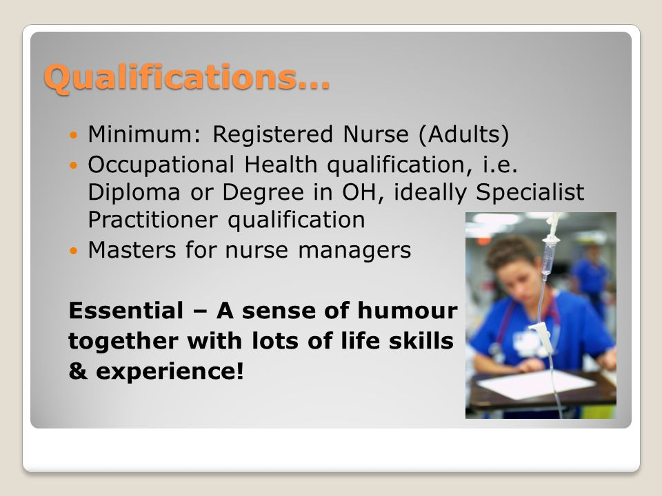Qualifications… Minimum: Registered Nurse (Adults)