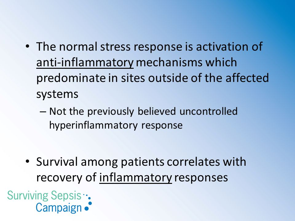 The normal stress response is activation of anti-inflammatory mechanisms which predominate in sites outside of the affected systems