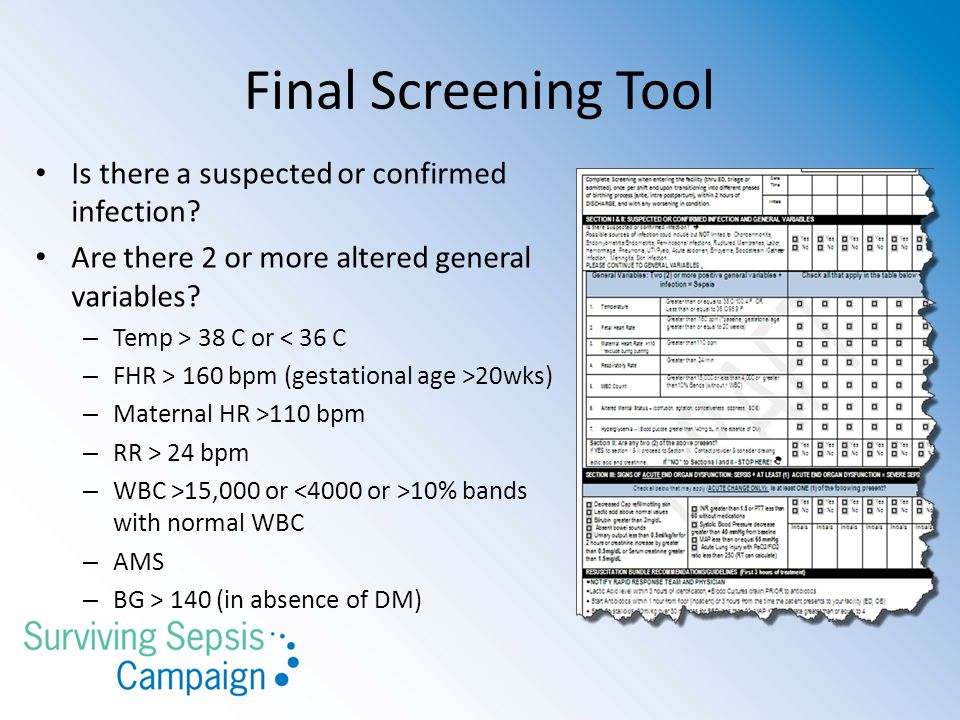 Final Screening Tool Is there a suspected or confirmed infection