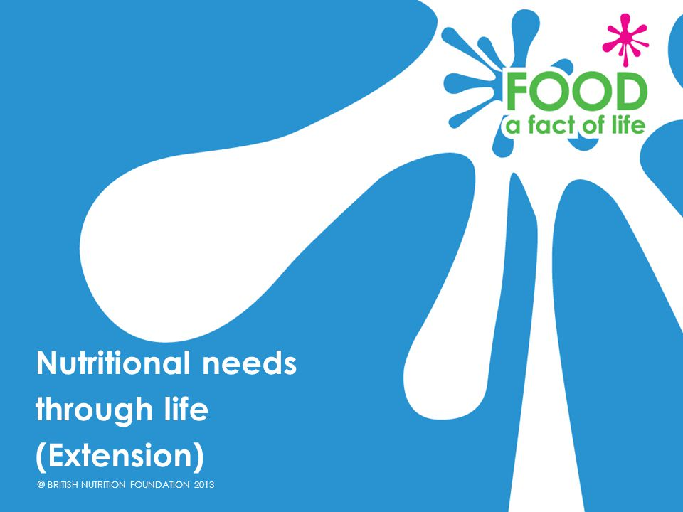 Nutritional needs through life (Extension)