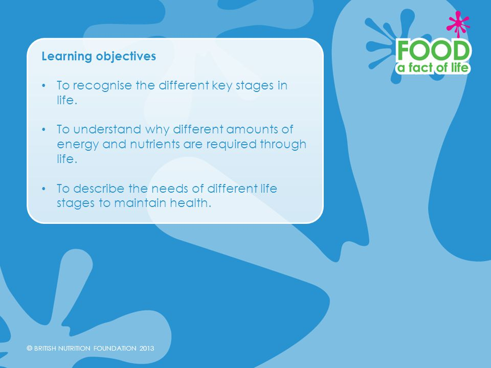 Learning objectives To recognise the different key stages in life.