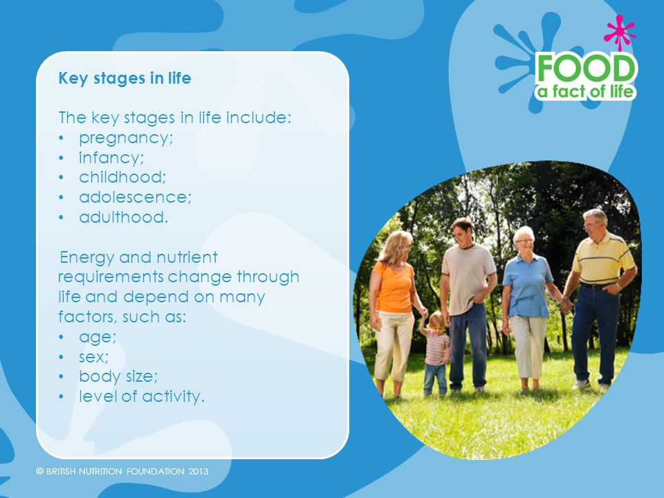 Key stages in life The key stages in life include: pregnancy; infancy; childhood; adolescence; adulthood.