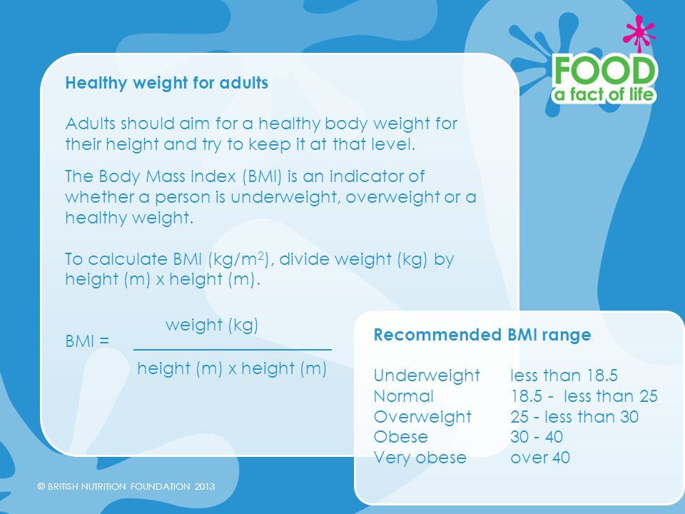 Healthy weight for adults