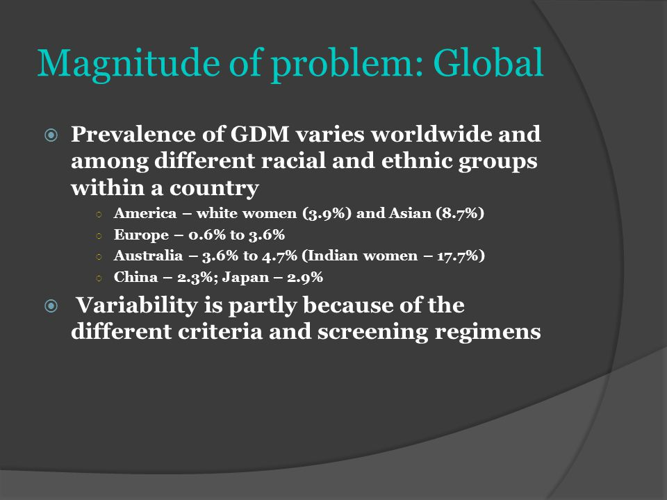 Magnitude of problem: Global