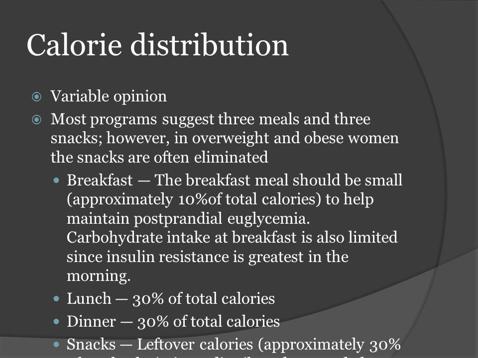 Calorie distribution Variable opinion
