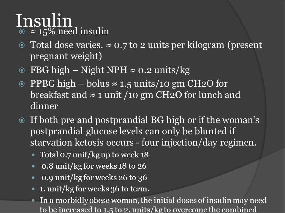 Insulin ≈ 15% need insulin